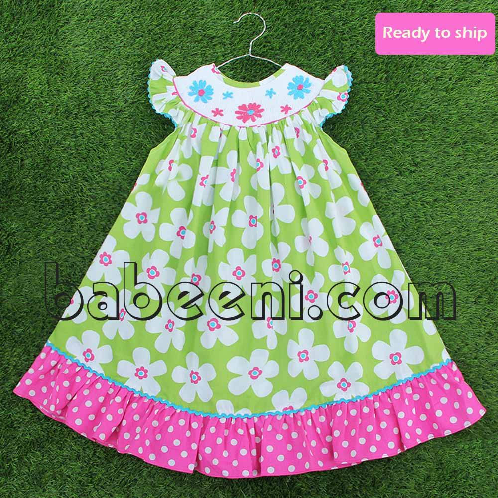 Lovely flower smocked bishop dress - BB237