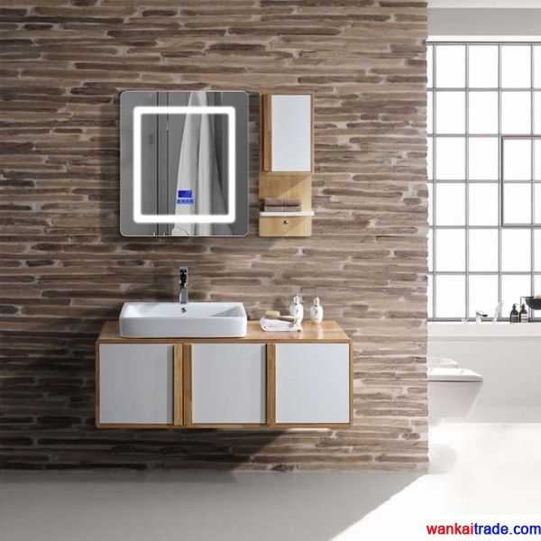 New style oak bathroom vanity with double doors, bluetooth music player and solid wooden handle