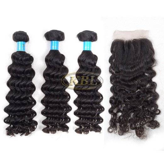 KBL® 7A 3 Bundles Brazilian Deep Wave with Lace Closure 4*4inch Three Way Part 150% Density Unproces