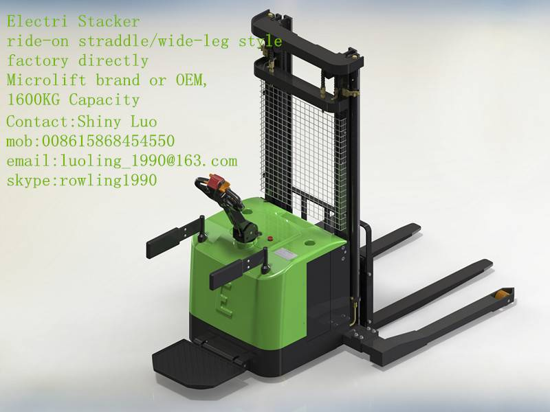 straddle/wide-leg Electric Stacker, 1400KG capacity, Microlift brand or OEM, factory direclty