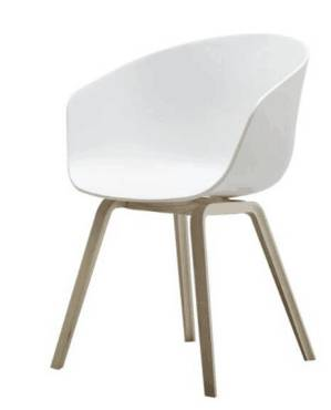 Wholesale Beech Wooden Legs White Plastic Dining Chair