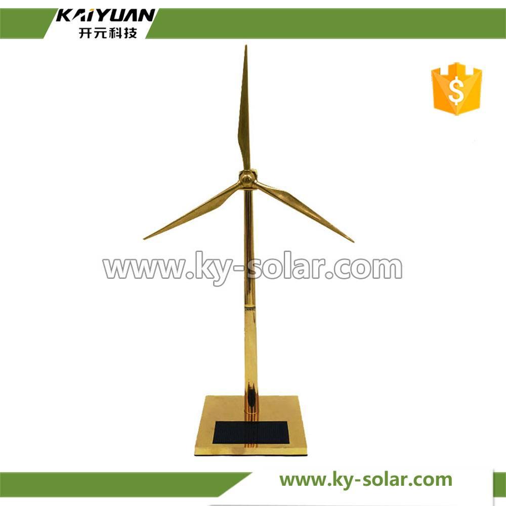 Custom DIY small golden solar windmill for office decorations