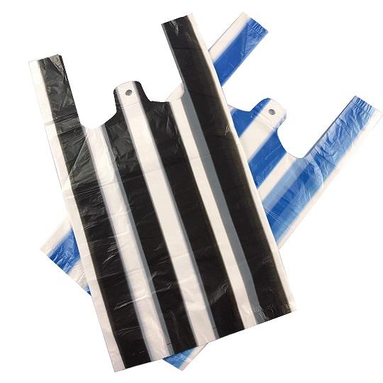HDPE Shopping Plastic Striped T-shirt Bags