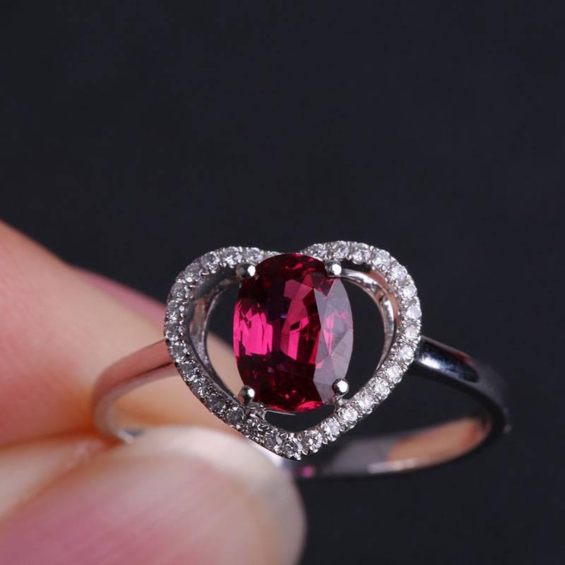 Love Rings 18K Gold Ruby Gemstone Diamond Jewelry Women Fashion Charm