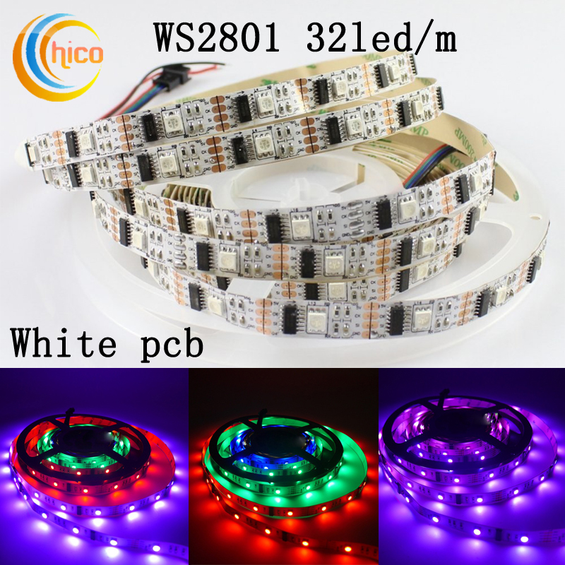 LED Strip WS2801 Smart Ribbon Light SMD 5050 RGB led strip IP20 IP65 IP67