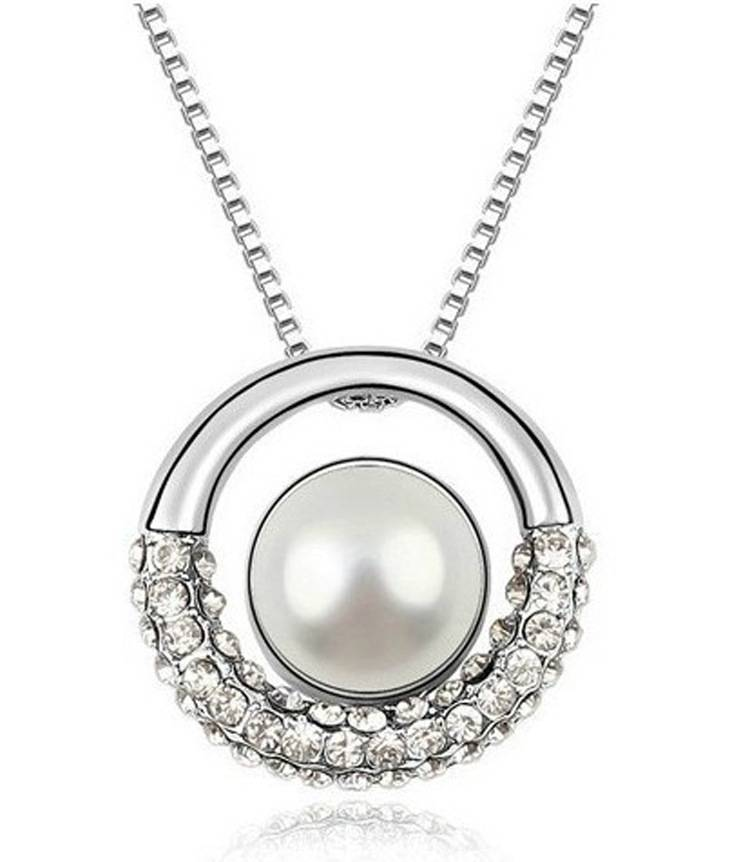 Fashion Alloy Women Crystal Pearl Round Pendant Necklace