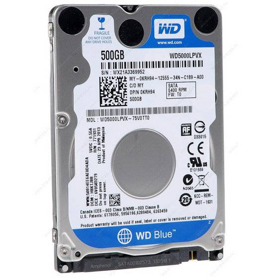 "Western Digital WD5000LPVX WD Blue 500GB 2.5"" Internal HDD Mobile Hard Drive Disk"