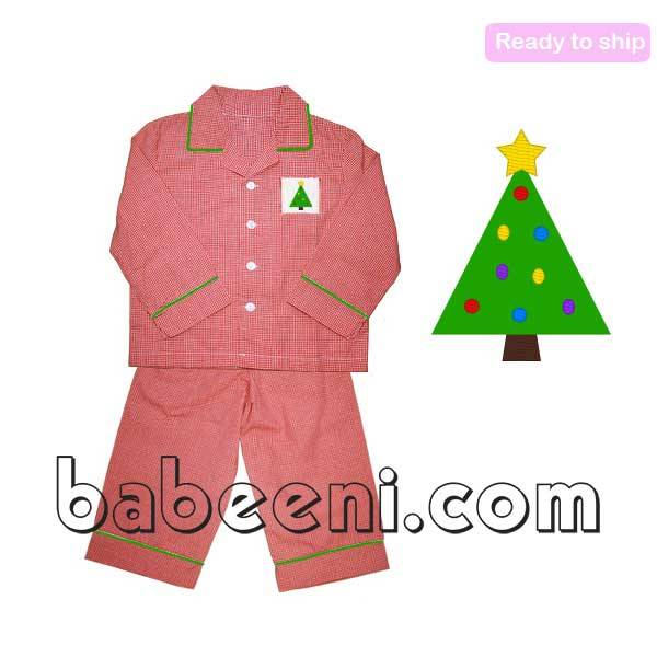 Nice X-mas tree smocked boy pajamas - BB447