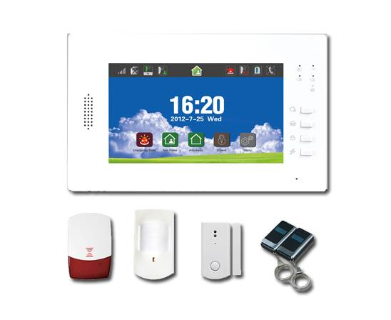 wireless alarm system with 7 inch touch screen LCD display