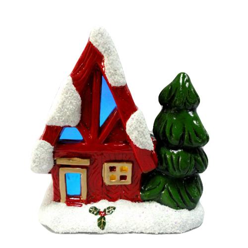 Resin Christmas House Nite Lite Xmas LED Decoration