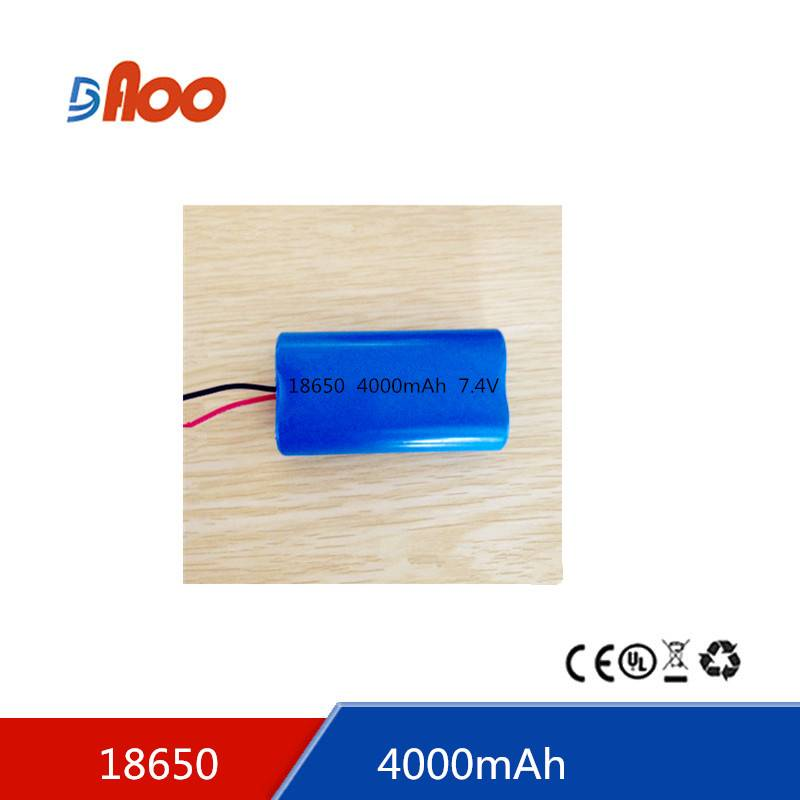 Li-ion18650 battery pack 7.4V 4000mAh rechargeable battery