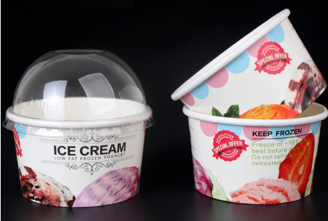 Custom Printed Clear Disposable Plastic Ice Cream / Yogurt Cup