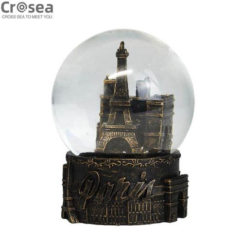 Custom souvenir engraved resin eiffel tower water snow globe for gift