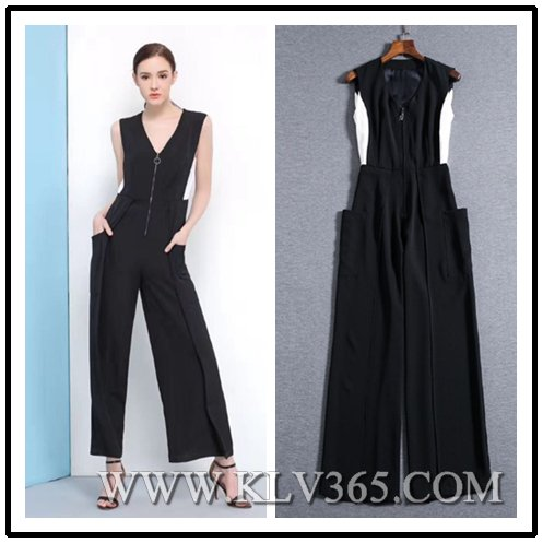 Popular Designer Women Fashion Summer Sleeveless Flared Jumpsuit China Wholesale