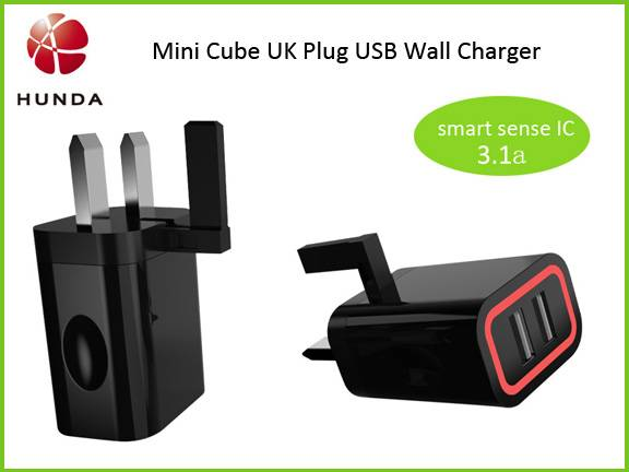 CE UK 3 Pin Plug AC Adapter 2 Port USB Wall Charger