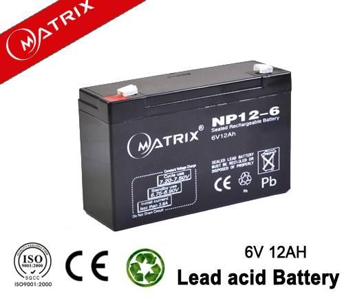 6V 12AH lead acid energy storage UPS battery