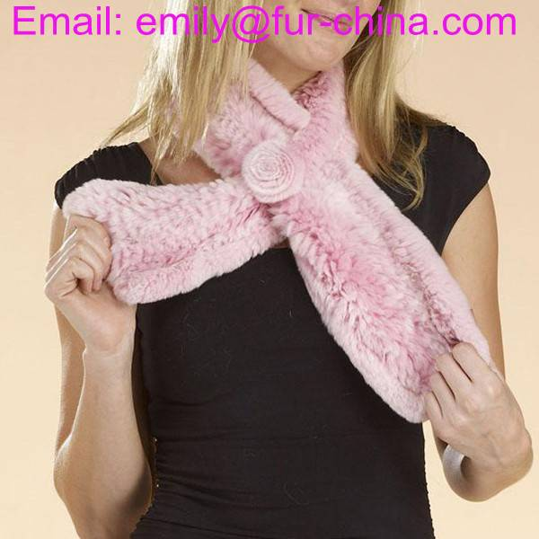 100% Real Rabbit Fur Knitted Fur Scarf