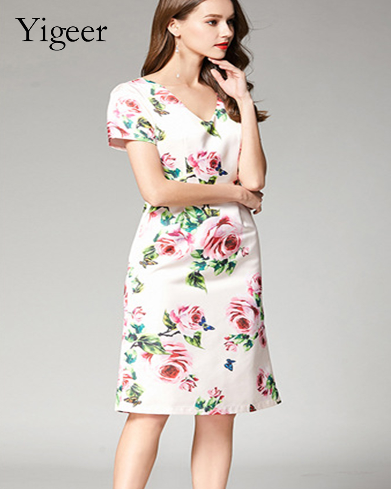 Short Sleeve Printed Floral Tube Dress