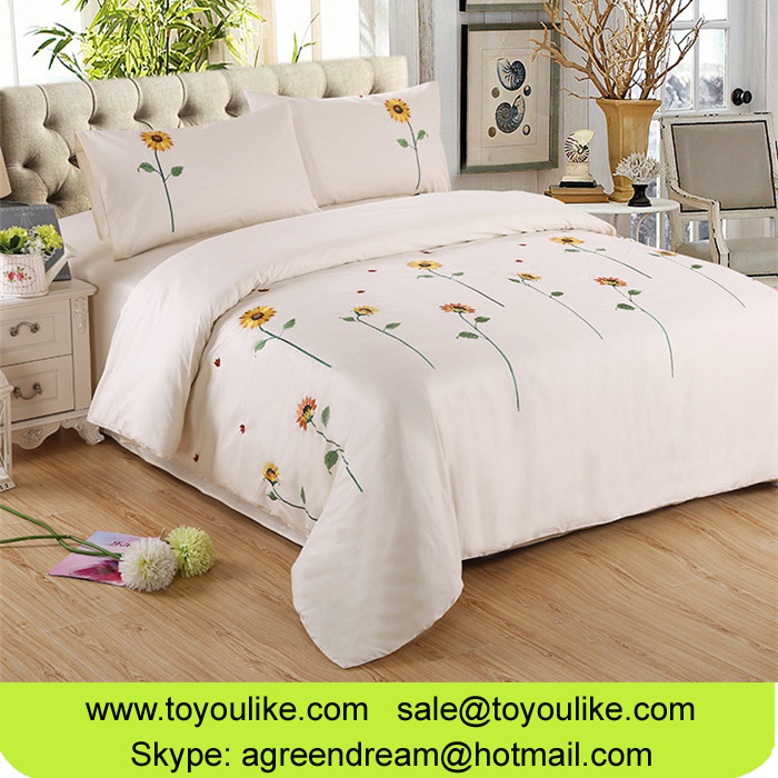 Handmade Sunflower Embroidered Pure Cotton Home Textile Bed Linen Duvet Cover Bed Sheet Pillowcases