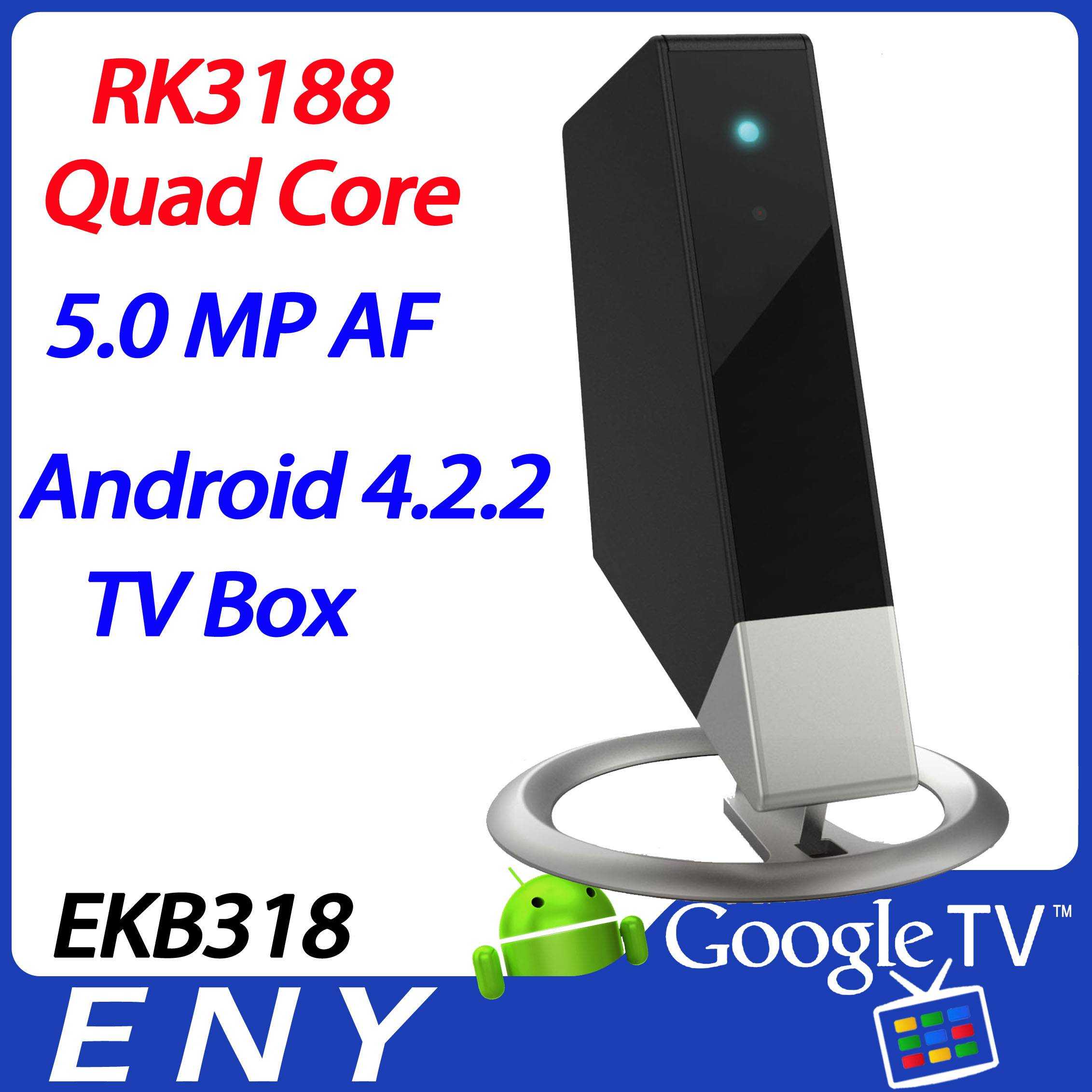 EKB318 RK3188 Android 4.2.2 tv box camera quad core full hd media player HDMI remote control