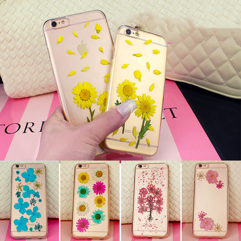 Handmade Fresh Dried Real Flowers Phone Accessories Case for iPhone 8 7plus 6 6s Wholesale