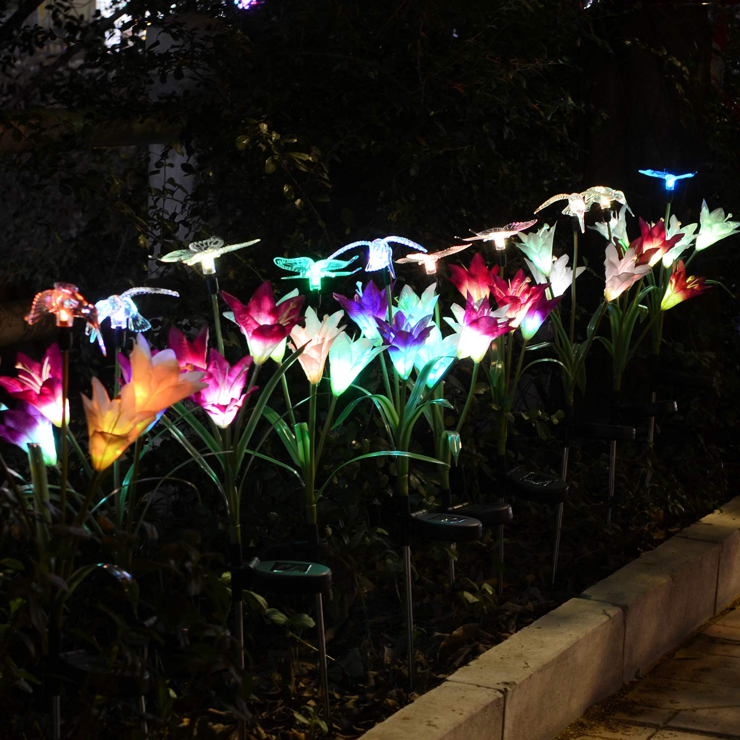 SOLAR GARDEN DECORATIONS ARTIFICIAL GLOWING FLOWERS WITH LED LIGHT FROM CHINA FACTORY