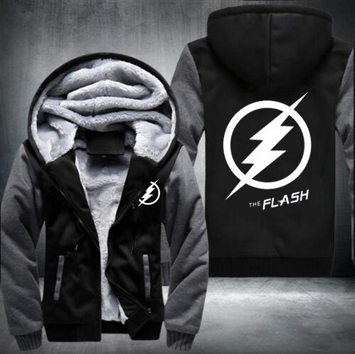 New Winter Jackets and Coats The Flash hoodie Anime Justice League Hooded Thick Zipper Men cardigan