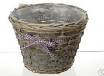 grey willow basket pot with plastic liner for garden