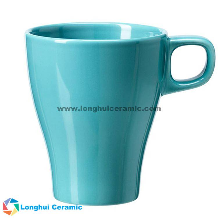 Elegance solid glaze ceramic coffee mug with small handle