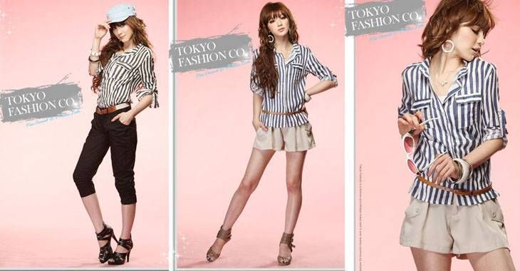jjfashion Stripe can turn sleeve shirt brim    Products ID: 013C-80749#