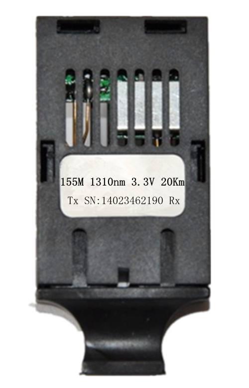 1*9 155Mbps PECL 5/3.3V1310nm Optical Transceiver 20Km