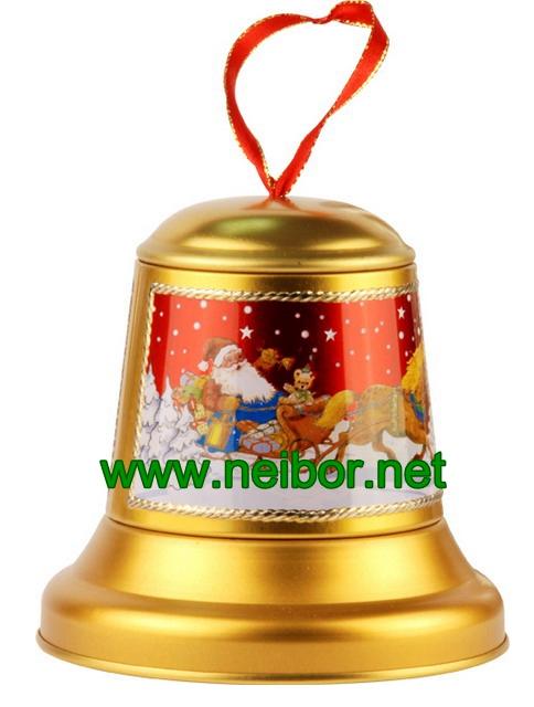 Christmas tin bell,bell tin box,chocolate tin box