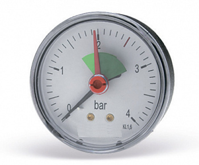 Pressure gauge with green sector and red reference pointer