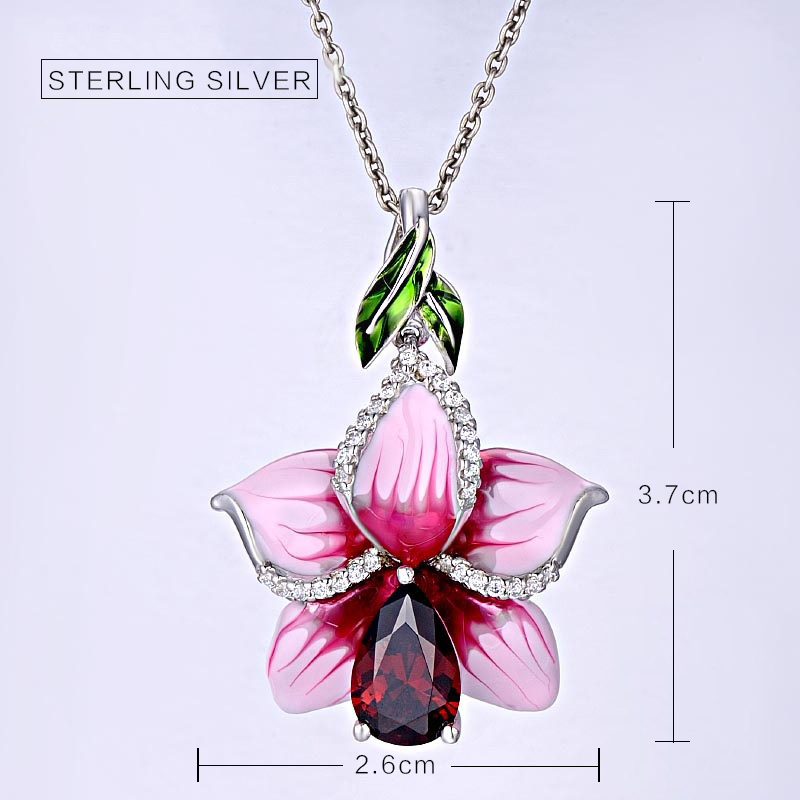 Enamel Jewelry s925 silver pendant Valentine's day and Christmas gift