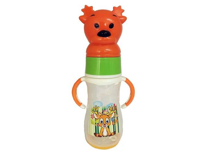 Animal Cap Plastic Baby Feeding Bottle, Food Grade Infant Nursing Bottle