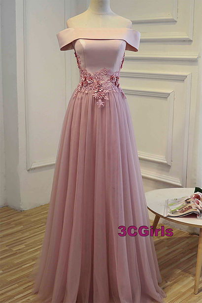 One Boat Neck Short Sleeve A Line Pink Tulle Prom Gowns, Wedding Bridal Party Dress