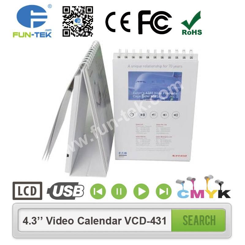 Desktop 4.3 inch Video Calendar VCD-431 A5 Portrait 256MB 600MAH Multi Buttons with 13 Pages