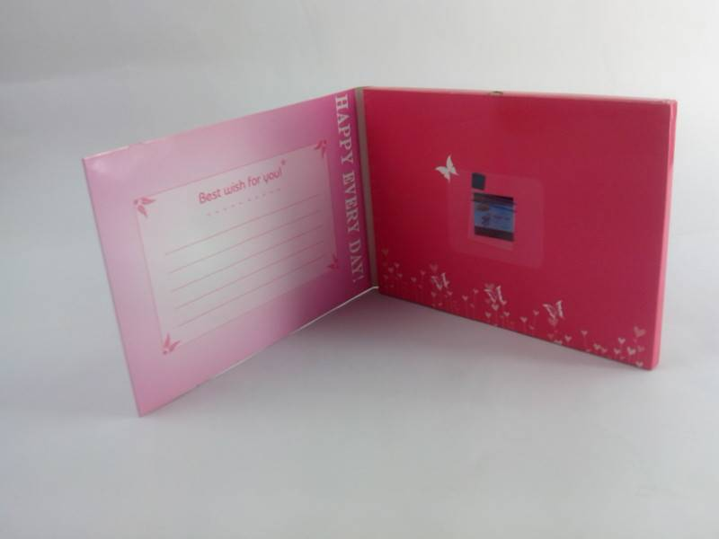 small size European video greeting card in English video brochure