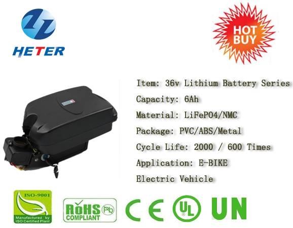 36v6Ah E-Bike Lithium Battery; EV/Scooter/Moped Battery; LiFePO4/NMC Battery Series; 36v Li-ion Bat