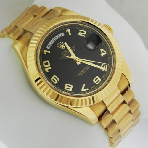 New Rolex Day Date II 41mm Yellow Gold Black Wave Dial 218238 bkwap Luxury Watch