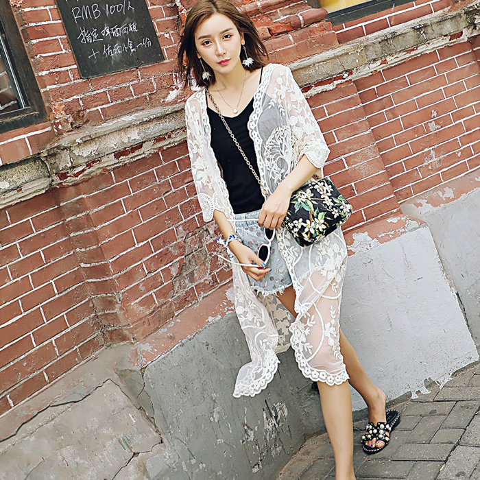 Long paragraph lace blouse beach lace sunscreen seven points sleeves lace wild long summer and autum