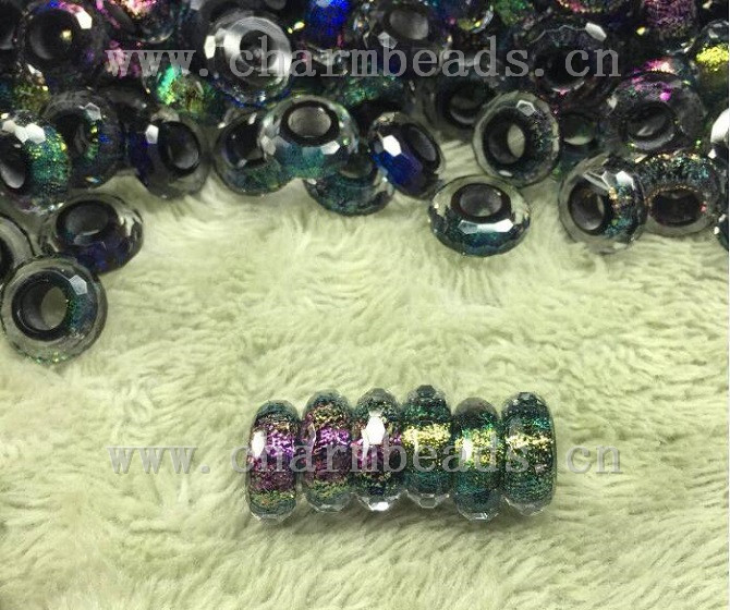 Dichroic Glass Beads with Large hole Size Multicolored