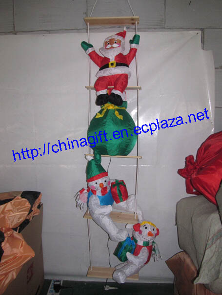 2.4 Meter Inflatable Christmas Santa Claus & Snowmen Climbing a Rope Ladder