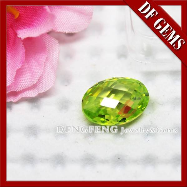 Synthetic Double Checker Cut Apple Green CZ Stone