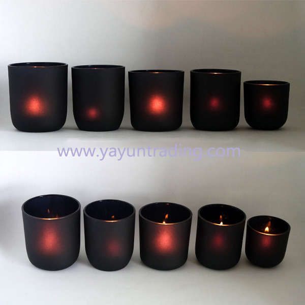 2019 votive style matte black glass candle holder for decoration