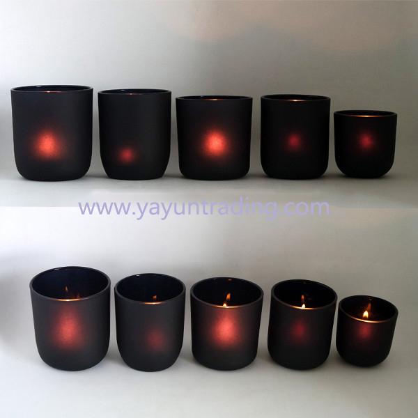 2019 votive style matte black glass candle holder for decoration