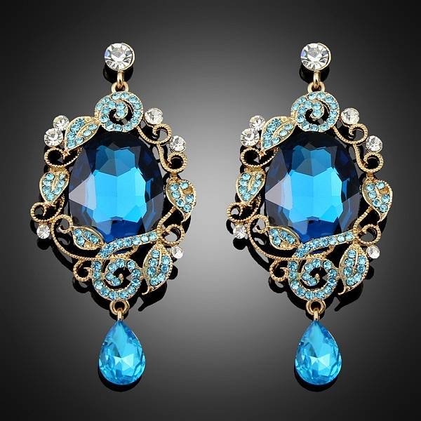 Latest Fashion Design Jewelry Blue Big Simitulated Crystal dangle Drop Earrings For Women Bc016