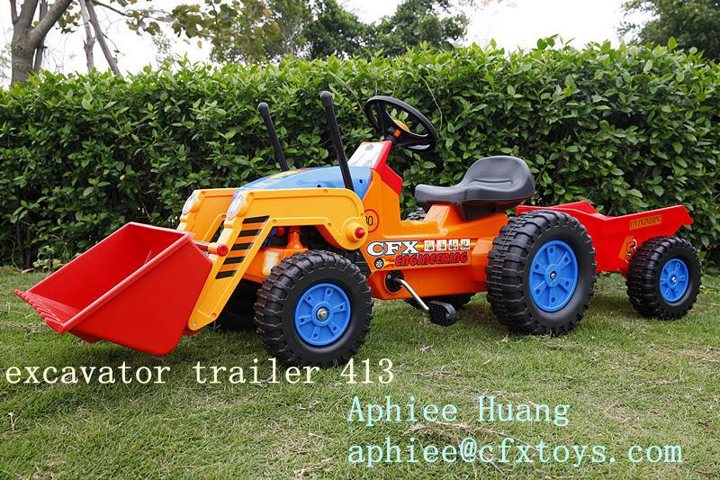 kid ride on car pedal truck with trailer 413