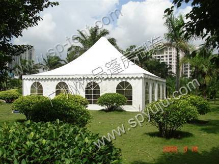 10X10m canopy tent in aluminum frame and pvc fabric