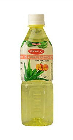 Peach Aloe Vera Juice with Pulp Okeyfood in 500ml Bottle